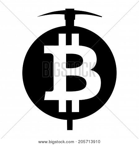 Symbol of mining cryptocurrency bitcoin. Circle and pickaxe. Logo and badge of financial tools. Vector Illustration isolated on white background.