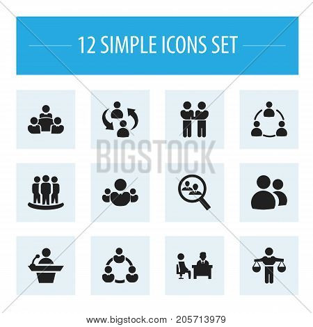 Set Of 12 Editable Team Icons. Includes Symbols Such As Talking Man, Command, Finding Solution