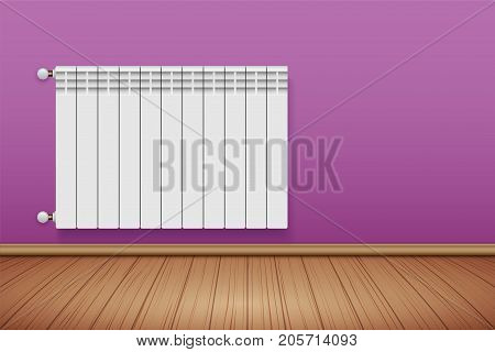 Metal Heating radiator in room. Modern Central heating system equipment. Water and steam model for wall. Vector Illustration