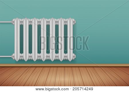 Vintage Metal Heating radiator in room. Central heating system equipment. Water and steam model for wall. Vector Illustration