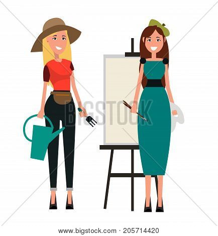 Painter with two brushes and gardener in hat holds fork and water can. Woman in dress with paints standing nearby vector illustration