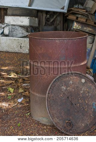 Background oil tank corroded rusty metal wall painted white background with metal rust stains rust rust stains .