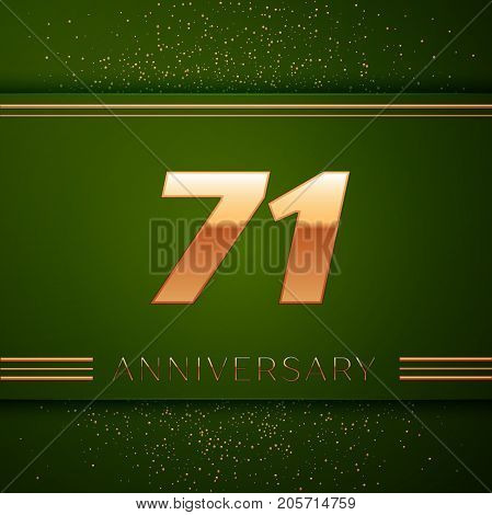 Realistic Seventy one Years Anniversary Celebration Logotype. Golden numbers and golden confetti on green background. Colorful Vector template elements for your birthday party