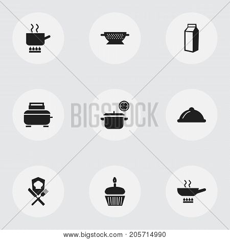 Set Of 9 Editable Cook Icons. Includes Symbols Such As Dish, Milk Bottle, Stewpot And More