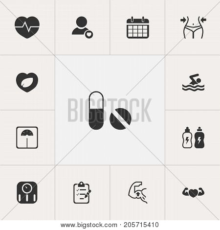 Set Of 13 Editable Sport Icons. Includes Symbols Such As Slimming, Energetic Beverage, Weight Measurement And More