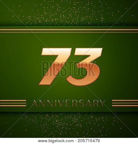 Realistic Seventy three Years Anniversary Celebration Logotype. Golden numbers and golden confetti on green background. Colorful Vector template elements for your birthday party