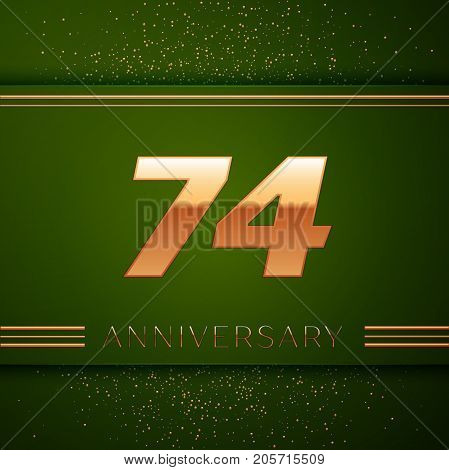 Realistic Seventy four Years Anniversary Celebration Logotype. Golden numbers and golden confetti on green background. Colorful Vector template elements for your birthday party