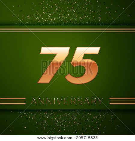 Realistic Seventy five Years Anniversary Celebration Logotype. Golden numbers and golden confetti on green background. Colorful Vector template elements for your birthday party