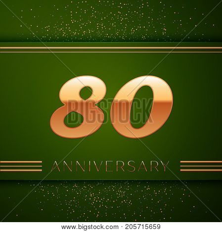 Realistic Eighty Years Anniversary Celebration Logotype. Golden numbers and golden confetti on green background. Colorful Vector template elements for your birthday party