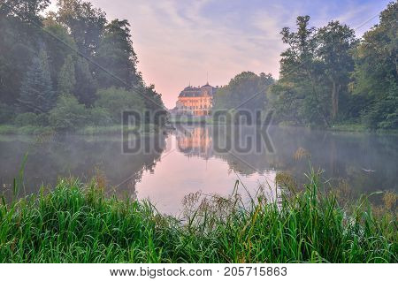 Castle in Pszczyna town in Poland. Beautiful antique neo baroque castle at summer morning.
