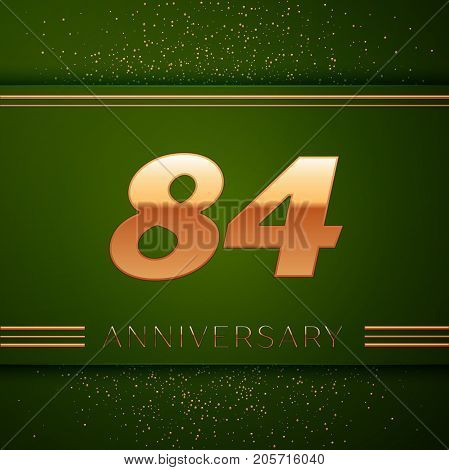 Realistic Eighty four Years Anniversary Celebration Logotype. Golden numbers and golden confetti on green background. Colorful Vector template elements for your birthday party