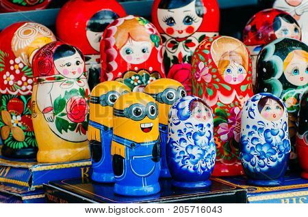 Minions nesting dolls and other dolls. Russia Saint-Petersburg. September 02 2017