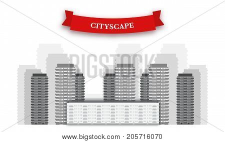 Cityscape background, black and white vector illustration. Realistic flat skyscrapers, financial district, down town front view. Red ribbon with text. Cityscape vector illustration. Cityscape tower flat vector.