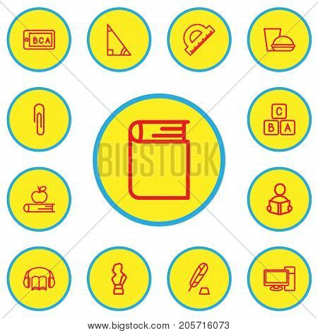 Set Of 13 Editable Teach Outline Icons. Includes Symbols Such As Teaching, Apple, Encyclopedia And More