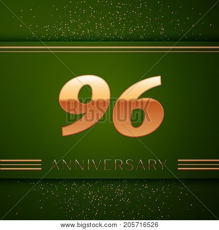 Realistic Ninety six Years Anniversary Celebration Logotype. Golden numbers and golden confetti on green background. Colorful Vector template elements for your birthday party