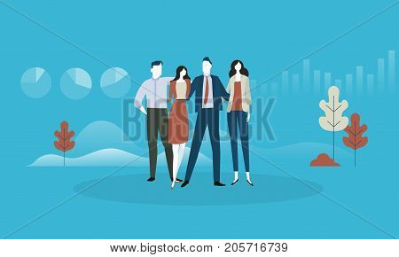 About us. Flat design business people concept. Vector illustration concept for web banner, business presentation, advertising material.