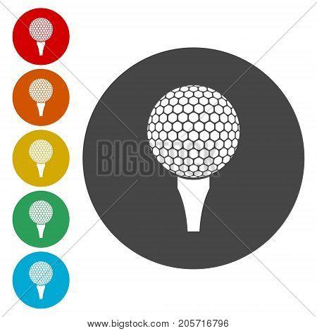 Vector golf ball, Vector Golf ball on tee