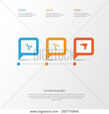 Tools Icons Set. Collection Of Shears, Round Pliers, Tool And Other Elements