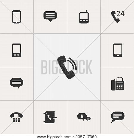 Set Of 13 Editable Gadget Icons. Includes Symbols Such As Office Telephone, Transceiver, Tablet And More