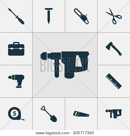 Handtools Icons Set. Collection Of Tool, Bolt, Meter And Other Elements
