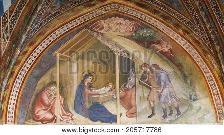 Fresco In San Gimignano - Nativity Scene