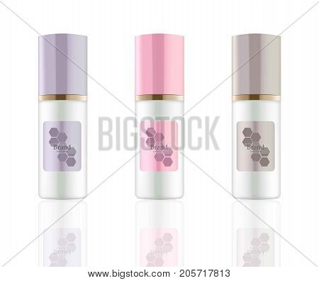 Lotion Cosmetics set Vector realistic mock up. Purple package Hydration cream bottle. Perfect for advertising, flyer, banner, poster. 3d illustrations
