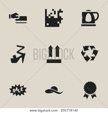Set Of 9 Editable Shopping Icons. Includes Symbols Such As Discount Tag, Direction, Stiletto And More