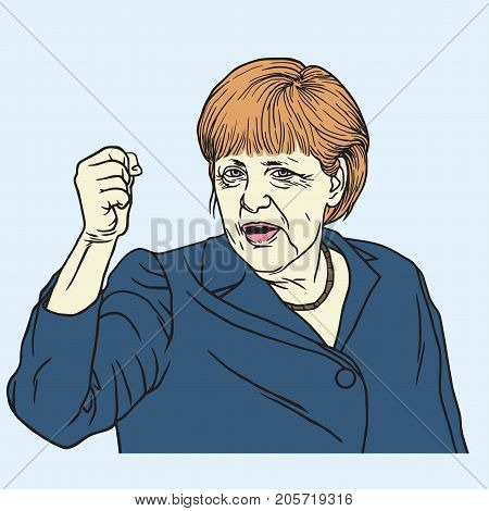Angela Merkel Portrait Vector Illustration Drawing. September 26, 2017