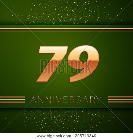 Realistic Seventy nine Years Anniversary Celebration Logotype. Golden numbers and golden confetti on green background. Colorful Vector template elements for your birthday party