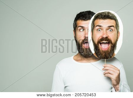 Hipster With Surprised Face Hold Portrait Nameplate.