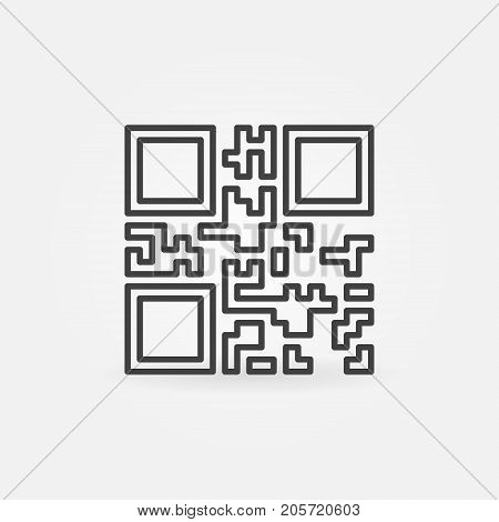 Vector QR Code icon or symbol in thin line style