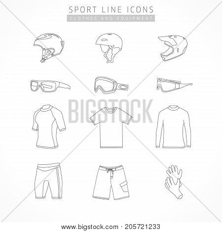 Set of active sport line icons. Vector icons of extrem sport equipment - helmet kite, snowboard, bike, sports glasses, ski goggles, sports shorts, t-shirt, neoprene gloves