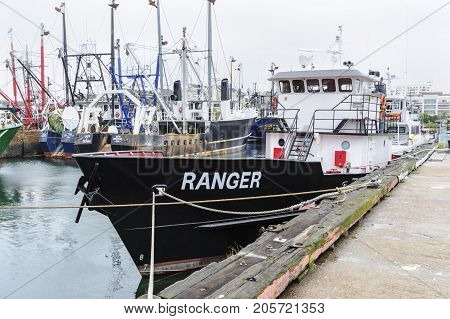 New Bedford Massachusetts USA - September 23 2017: Fishing vessel Ranger on New Bedford waterfront at the Working Waterfront Festival