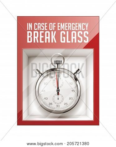 In case of emergency break glass - time concept- stock illustration