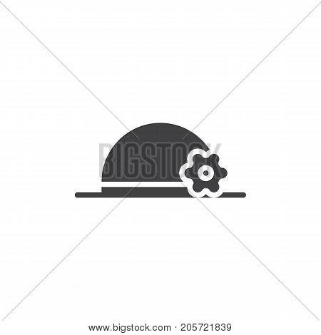 Hat pamela icon vector, filled flat sign, solid pictogram isolated on white. Symbol, logo illustration.