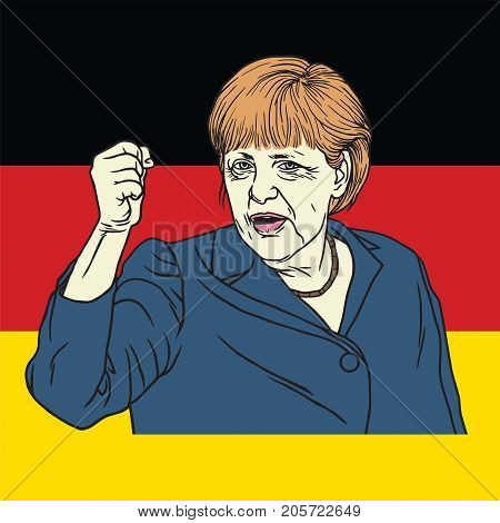 Angela Merkel on German Flag Background. Vector Illustration. September 26, 2017