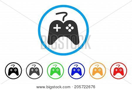 Game Pad rounded icon. Style is a flat game pad grey symbol inside light blue circle with black, gray, green, blue, red, orange color versions. Vector designed for web and software interfaces.
