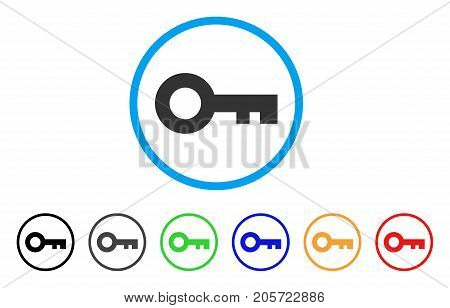 Key rounded icon. Style is a flat key gray symbol inside light blue circle with black, gray, green, blue, red, orange color versions. Vector designed for web and software interfaces.