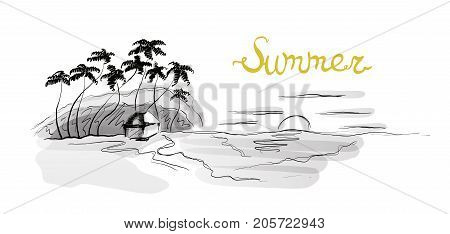 Sea beach at sunset, palm trees and hut on the shore. Vector illustration in sketch style, isolated on white.