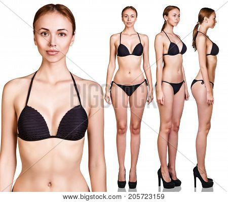 Set of woman's perfect body from all angles. Slimming concept.