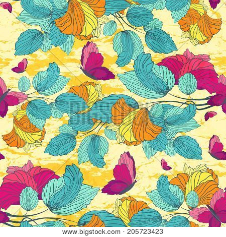 Bright Summer Seamless Floral Pattern With Flowering Branches And Butterflies