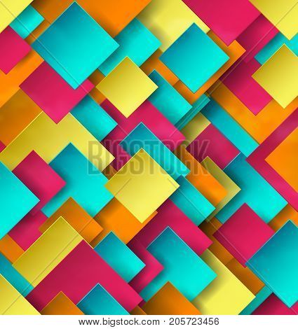 Abstract Geometric Colorful Design Background With Rhombus And Shadow