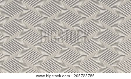 White wave band abstract texture surface pattern. 3d rendering