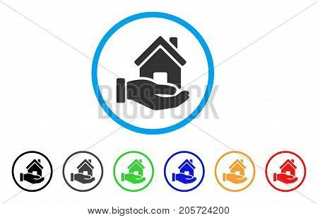 Home Offer rounded icon. Style is a flat home offer grey symbol inside light blue circle with black, gray, green, blue, red, orange versions. Vector designed for web and software interfaces.