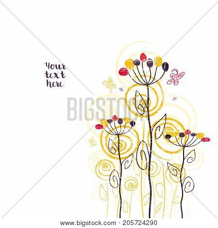 Abstract cute floral summer design on a white background