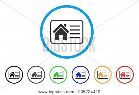House Info Card rounded icon. Style is a flat house info card gray symbol inside light blue circle with black, gray, green, blue, red, orange color versions.