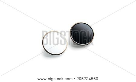 Blank black and white round gold lapel badge mock up side view 3d rendering. Empty luxury hard enamel pin mockup. Golden clasp-pin design template. Expensive square brooch for logo presentation