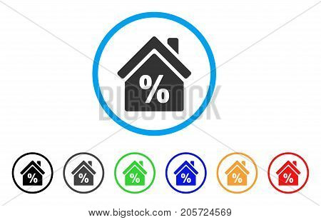 Mortgage Discount rounded icon. Style is a flat mortgage discount gray symbol inside light blue circle with black, gray, green, blue, red, orange versions.