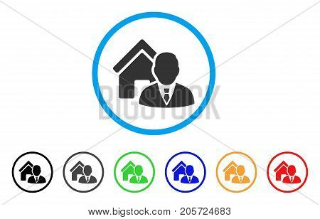 Realtor rounded icon. Style is a flat realtor gray symbol inside light blue circle with black, gray, green, blue, red, orange versions. Vector designed for web and software interfaces.