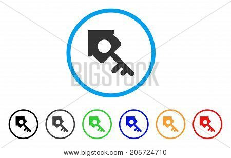 Realty Access rounded icon. Style is a flat realty access grey symbol inside light blue circle with black, gray, green, blue, red, orange variants. Vector designed for web and software interfaces.